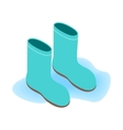 Blue rubber boots icon isometric 3d style vector image vector image