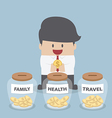 Businessman putting coin into Family Health Trav vector image vector image
