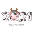 cartoon cute postcard happy new year bull vector image