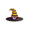cartoon witch hat black yellow stripes icon vector image vector image