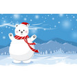 christmas concept design of white bear with hat vector image vector image