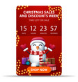 christmas sales and discount week red vertical vector image