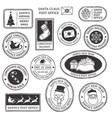 christmas stamp vintage santa claus postmark vector image