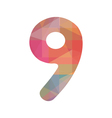 Colorful number nine vector image