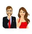 couple making silence or secret hand gesture vector image vector image