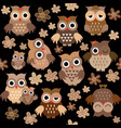 cute owls seamless background vector image