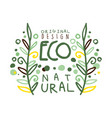 eco natural label original design logo graphic vector image vector image