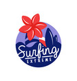extreme surfing logo surf retro badge vector image vector image