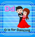flashcard letter d is for dancing vector image vector image