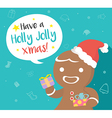 Gingerbread man with speech bubble vector image