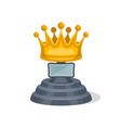 golden trophy cup of crown shape vector image vector image