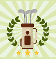 golf club bag laurel wreath emblem vector image vector image
