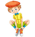 happy boy in yellow shirt vector image vector image