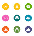 hatter icons set flat style vector image