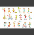 kids playing outside set vector image vector image