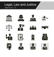 legal law and justice icons glyph design for vector image