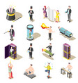 magic show isometric icons vector image