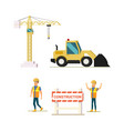 modern construction industry flat icons set vector image
