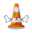money eye on traffic cone against mascot argaet vector image vector image
