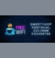 neon cafe signboard with free wifi zone hot vector image vector image