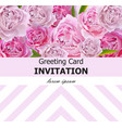 peony flowers greeting card pink flowers vector image vector image