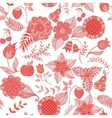 red floral doodle seamless pattern vector image vector image