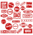 Red grunge stamps with negative words vector image vector image