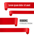 red realistic ribbon banners set vector image vector image