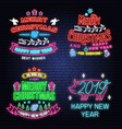 set merry christmas and happy new year neon vector image vector image