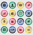 set of business icons on colored circle vector image