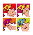 set of hands clenched vector image