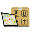 shipping parcel gps tracking order design laptop vector image
