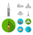 sights of different countries outlineflat icons vector image vector image