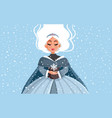 snow queen holding snowflake in winter time vector image vector image