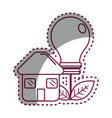 sticker house with save bulb plant with leaves vector image vector image