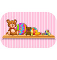 teddy bears and balls on shelf vector image vector image