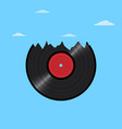 vinyl disk record in shape mountains with clouds vector image