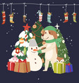 winter christmas card with vector image