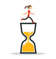 woman running on sand clock icon vector image vector image