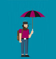 young man with umbrella background vector image vector image