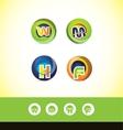 Alphabet letter sphere logo icon set vector image