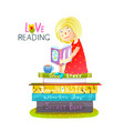 girl sitting on pile of books reading vector image