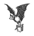 bat flies with bucket of candy engraving vector image