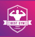 best gym vintage logo white badge with athlete vector image