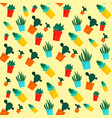 cactus pattern flat style vector image
