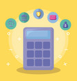 calculator with economy and financial icons vector image