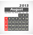 Calendar 2013 August vector image vector image