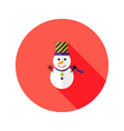 Christmas Snowman with Topper Hat Flat Icon vector image vector image