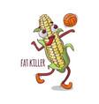 corn fat killer volleyball sport cartoon vector image vector image