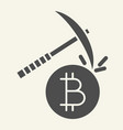 cryptocurrency mining solid icon crypto pickaxe vector image vector image